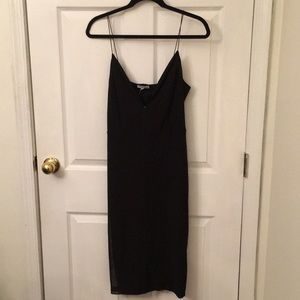 Sexy, Midi, Mesh Overlay Black Dress